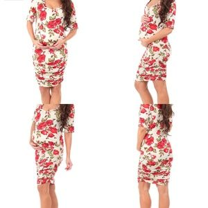Like New Mother Bee Ruched Floral Maternity Dress